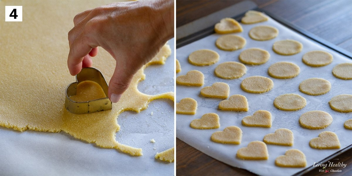 recipe step 4 cutting rolled dough with heart shaped cookies cutter