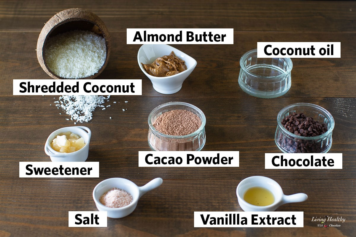 collage of all the ingredients needed to make the chocolate macaroons recipe