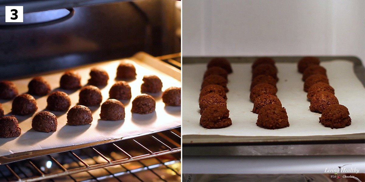 recipe step three baking macaroons in the oven on left and chilling them in the fridge on the right
