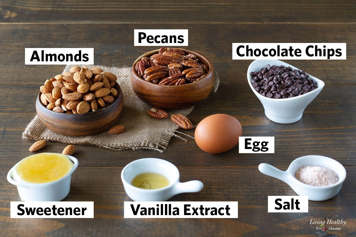 collage of all the ingredients needed to make flourless chocolate chip cookies