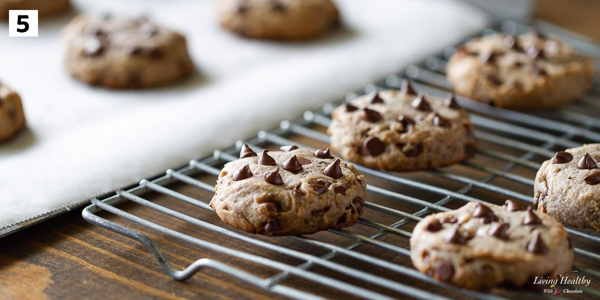 Flourless chocolate chip cookies recipe step 5 cooling baked cookies on a wire rack
