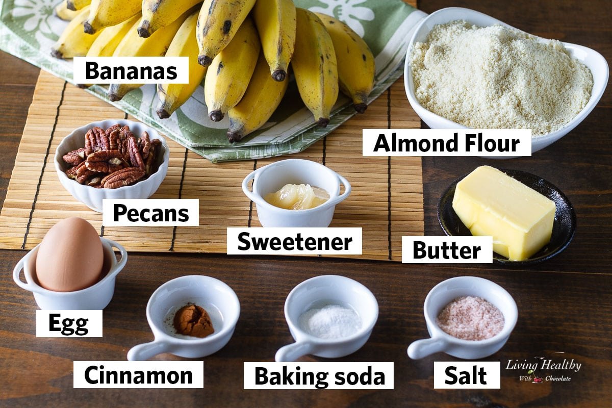ingredients for the muffins recipe labeled and set on a table