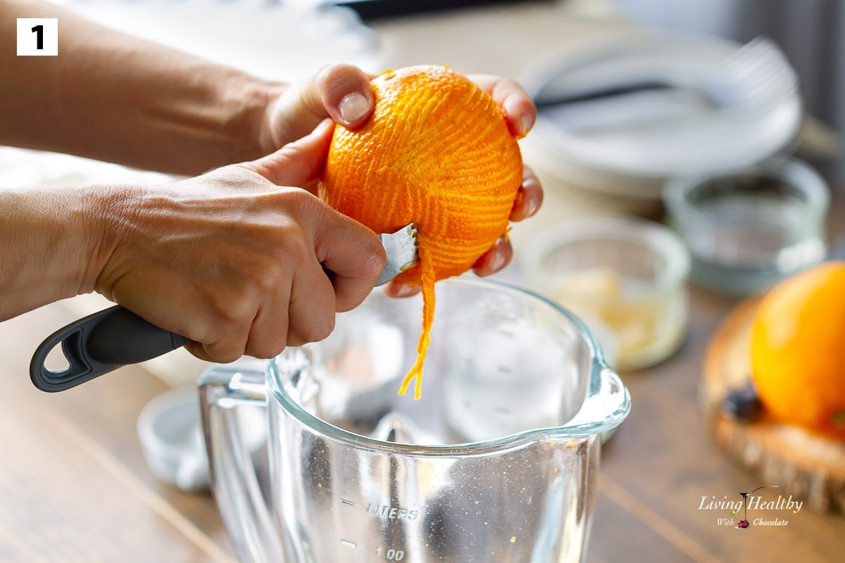 zesting a large whole orange into a blender