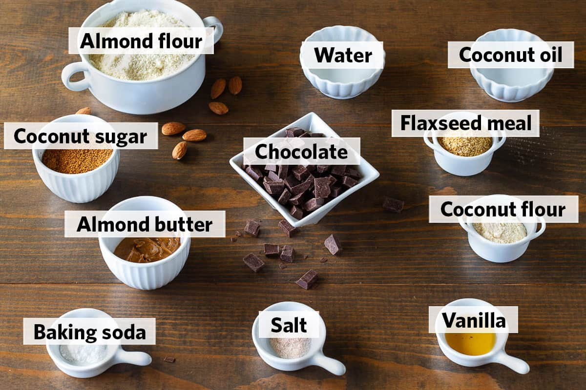 collage of all ingredients needed to make eggless chocolate chip cookies recipe
